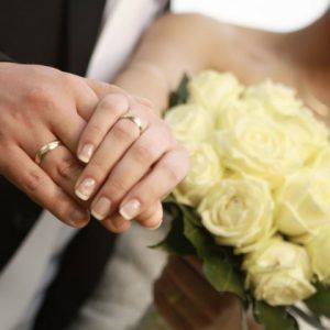 12942118 - bride and groom wedding rings